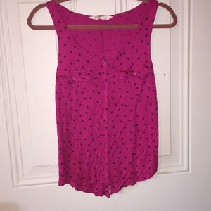 Soft polka dot pocket tank